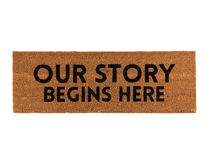 Our Story Begins Here-Doormat, Coir Doormat, Wedding Rug, Decorative Doormat