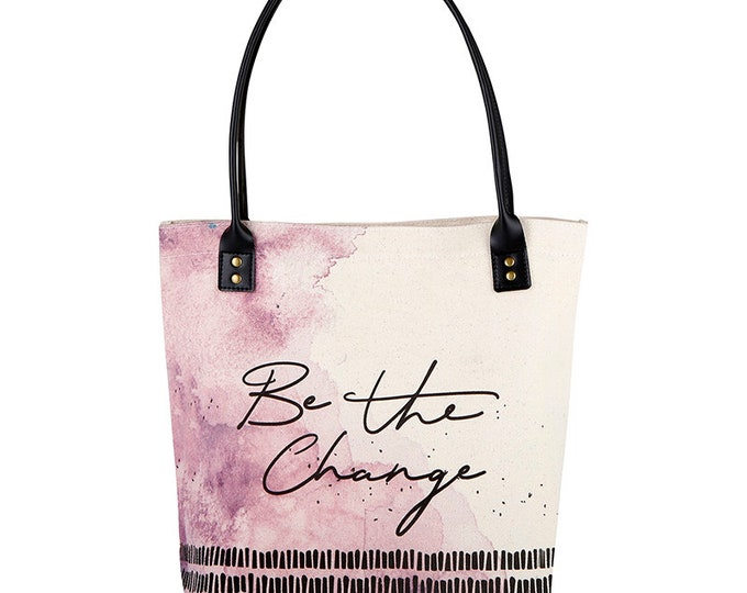 Tote Bag-Be the Change tote, purple, Everyday bag, birthday gift, Shopper, Shopping Bag