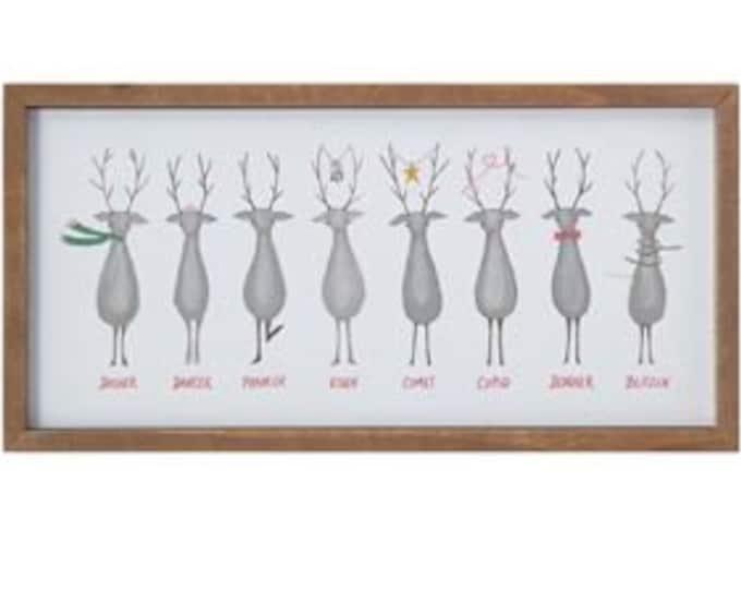 Santa's Reindeer Framed Wall Decor