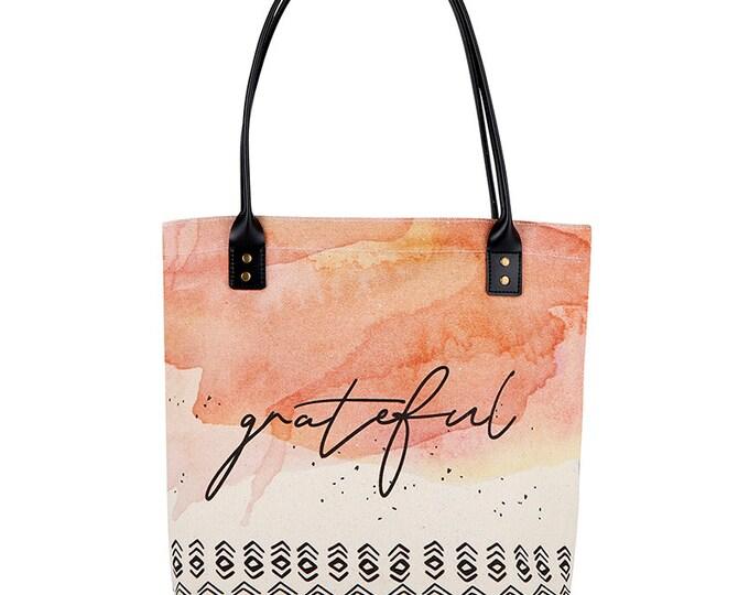 Tote Bag-Grateful tote, peach, Everyday bag, birthday gift, Shopper, Shopping Bag