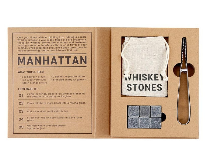 Whiskey Stones Book Set, Perfect Gift Set For Whiskey Lover, Drink Accessories, Chilling Stones