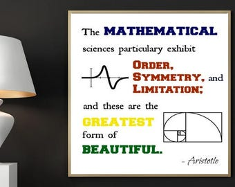 Aristotle Print, Digital Print, Printable Art, Math Quote, Math and Science, Inspirational Quote, Home Decor, Office Decor, Engineer Poster