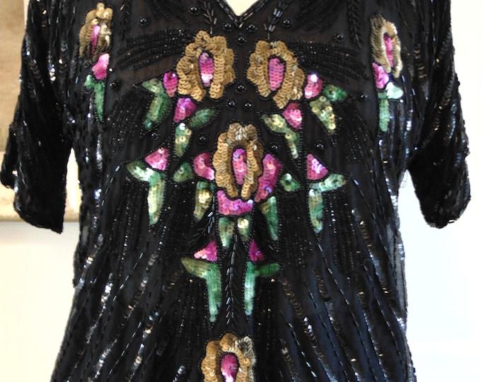 80s Sequin Black Top-Ladies Black Sequin Beaded Top-Vintage Ladies Sequin Beaded Top-Sequin Tops-Colored Sequin Beaded Top-Ladies Sequin Top