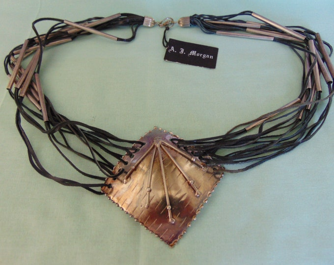 A.J.Morgan Leather Necklace Fashion For Derbies, Horse Shows, Rodeos, Entertainers, Western Dancing, Western Wear, Jeans And Boots