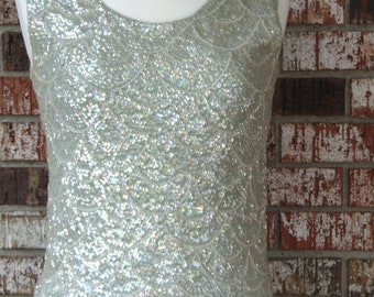 60s Sequin Top For Holidays, Church, Traveling, Parties, Dinners, Dances, Rodeos, Operas, Gallery Openings, Art Shows, Theater,Western Dance