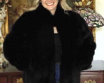 Ladies Black Fox Jacket-Fox Jackets-Fox Jacket Has Ballerina Sleeves-Mans Fox Jacket-Black Fox Coat-Fox Ski Jacket-Fox Coat Gifts-Fur Coats