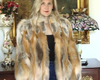 Red Fur Jacket-Ladies Fur Jacket-Mens Fur Jacket-Vintage Fur Jacket- Fur Jacket-Red-Silver And White Fur Jacket-Sm. Fur Jacket-Med. Fur