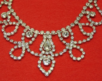 50's Weiss Rhinestone Necklace For Holiday, Wedding, Prom, Travel , Kentucky Derby, Traveling, Western Dances, Rodeos, Entertainers, Brides
