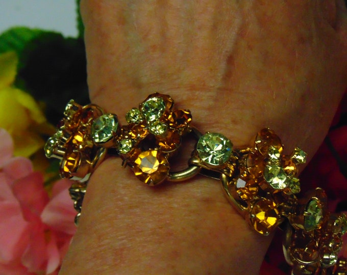 50s Juliana Citrine Bracelet For Weddings, Rodeos, Opera, Theater, Dinners, Parties, Holidays, Traveling, Church, Gallery Openings, Business