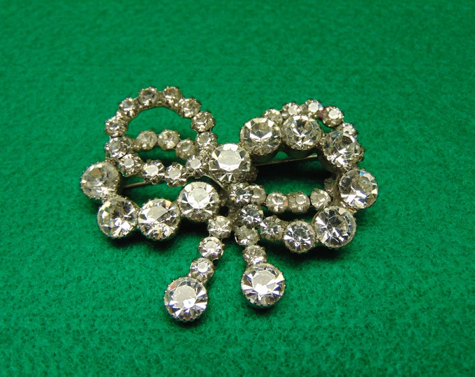 Rhinestone Vintage Bow Brooch For Holidays, Weddings, Cruises, Rodeos, Chairty Balls, Dinner Theater,Western Dance, Derbies, Musicals