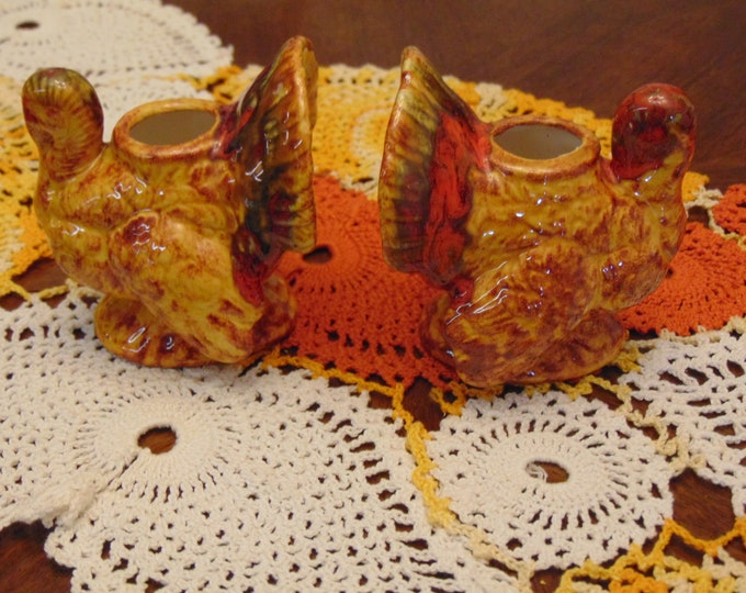 Turkey Candleholders For Thanksgiving, Turkey Collectors, Holidays, Fall Decor, Kitchen Decor, Dining Room Decor, November Holidays