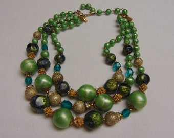 St. Patty's Day Necklace- Green Beaded Necklace For Business Luncheons-Cruises-Holidays-Musicals-Weddings-Garden Party-Patio Party-Church