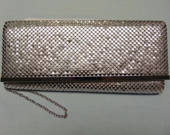 80's Jessica McClintock  Silver Mesh Evening Purse For Holidays, Western Dancing, Proms, Rodeos, Cruises, Weddings And Special Events