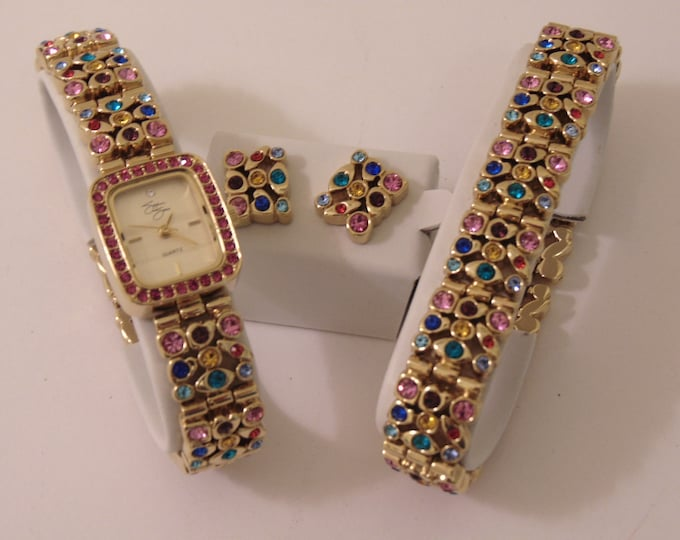 Suzanne Somers Crystal  Watch-Bracelet-Earring Trio In Multi Color Gemstones For Weddings, Mothers Day Gifts, Church, Traveling, Dinners