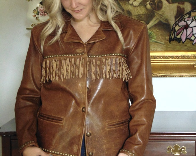 Double D Ranch Wear Leather Fringe Jacket XS-Ladies Fringed Leather Jacket-Mens Fringed Leather Jacket-Western Leather Jacket-Leather Jacket