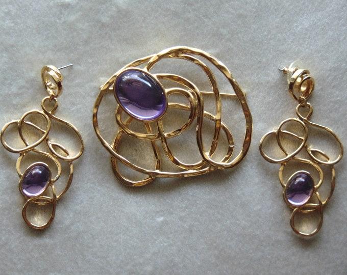 80s Gold And Purple Pierced Drop Earrings And Brooch-Vintage Earring Brooch-Swirled Statement Earrings Brooch-Business Brooch Earring Set