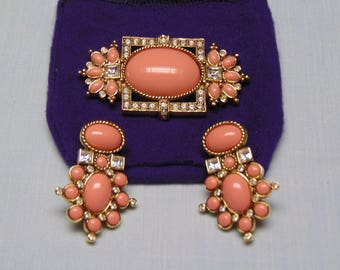 80's Elizabeth Taylor Brooch And Clip Earrings Perfect For Weddings, Holidays, Cruises, Entertainers, Business Events
