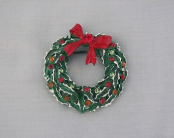 Christmas Wreath Pin 60's Perfect For Stocking Stuffers, Gift Exchange, Christmas Parties, Holiday Dinners, Candlelight Service