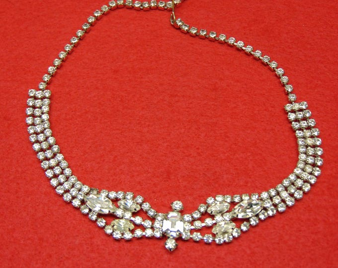 Rhinestone Necklace 50s For Weddings, Holidays, Parties , Proms, Holidays, Traveling, Western Dancing, Entertainers And More