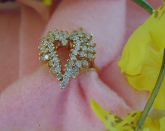 1/2 CT TW. YG. Heart Shaped Diamond Ring Ladies Size 5 1/2 Perfect For Easter, Mothers Day , Engagements, Valentines or Heart Lovers