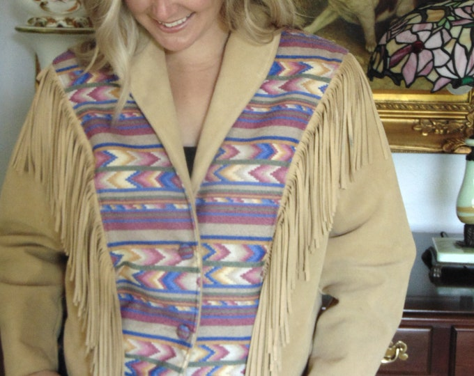 Lariat Fringe Leather Jacket For Rodeos-Horse Shows-Western Dances-Country Concerts-Equestrian Wear-Navajo Coat-Aztec Coat-Southwest Jacket