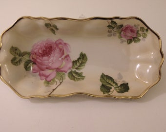 Antique Handpainted Prussia Floral Celery Dish For Dining-Serving-Holiday Parties-Dinner Parties- Card Clubs-Collectors-House Warming Gifts