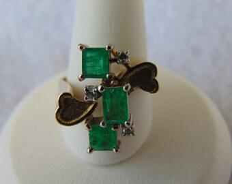 Emerald Diamond Ring, Art Deco 14KYG Ring, May Birthstone Ring, Engagement Ring, Dinner Ring, Christmas Ring, Emerald Ring, Diamond Ring