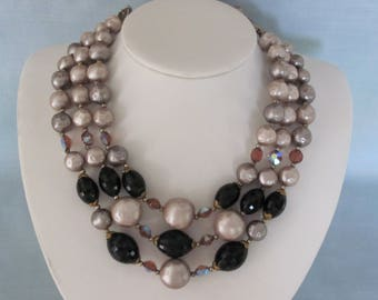 Flirty 50's 3 Strand Ebony and Ivory Beaded Necklace Business Casual, Travel, Luncheons, Weddings, Sporting Events , Dinners, Dances