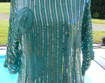 80s Sequin Top For Horse Shows, Rodeos, Derbies, Theater, Opera, Holidays,Weddings,Concerts, Gallery Openings, Art Shows, Cruises, Parties