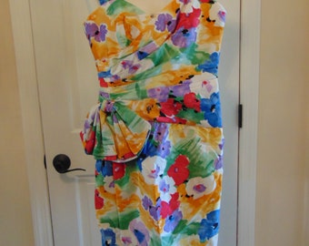 A.J.BARI Floral Dress For Patio Parties,Church,Mothers Day,Barbecues,Weddings,Dinner,Dances,Cocktails,Traveling,Gallery Openings,Art Shows