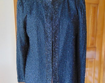 Black Beaded Jacket For Western Dances-Rodeos-Musicals-Holidays-Weddings-Cruises-Operas-Gallery Openings-Theater-Show Girls-Entertainers-Art