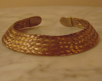 80s Gold Woven Collar Necklace For Business, Theater, Dinners,Concerts,Art Shows, Gallery Openings,Travel Church,Cruises Entertainers,Rodeos