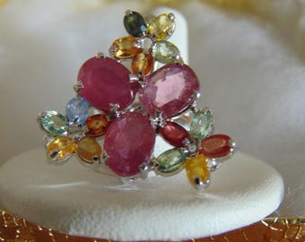 3 Rubies, Peridot, Sapphires & Topaz In 925 Ring For Mothers Day,Kentucky Derby,Rodeos, Charity Ball, Prom, Weddings, Garden Party, May Day