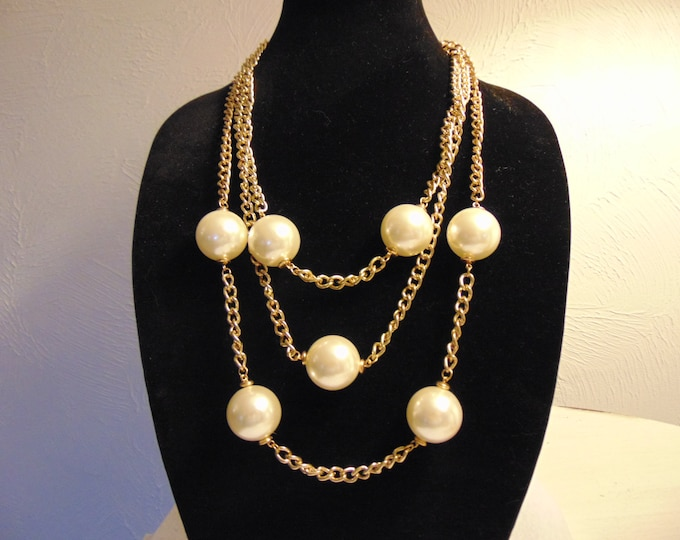 Kenneth Jay Lane-KJL Jewelry-Designer Necklace-KJL 3 Chain Pearl Necklace For Weddings-Cruises-Derbies-Business Casual-Opera-Theater-Church