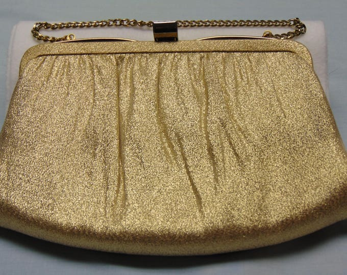 60's Vintage Gold Metallic Purse Use For Traveling, Summer Parties, Holiday Parties, Cocktail Parties, Dinner Dances, Proms And More