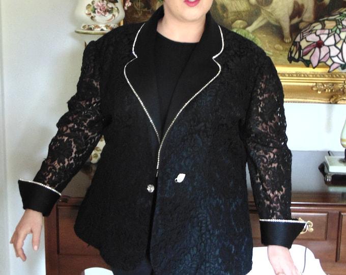 Nomi Rubinstein Black Blazer-Black Blazer Border Lined In Rhinestones-Black Rodeo Blazer- Black Dinner Jacket-Black Holiday Blazer-Blazers