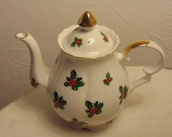 Lefton China Teapot, Christmas Teapot, Vintage Teapot, Antique Teapot, Housewarming Teapot Gift, Teapot Collectors, Teapots For Gifts