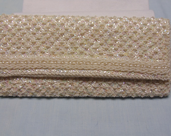 50's  Hand Beaded Sequin White Clutch For Weddings, Proms, Holidays, Dances, Dinners, Charity Balls, Traveling, Brides, And More