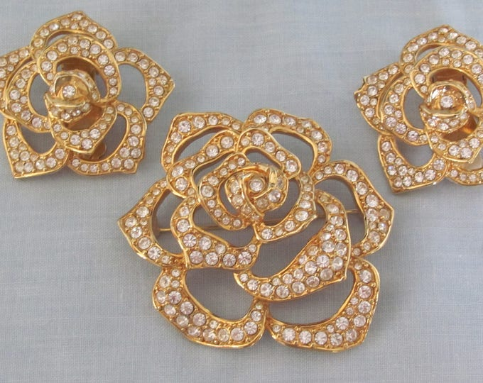 90's Elizabeth Taylor Brooch & Earring Set For Mothers Day, Easter, Kentucky Derby, Dinners, Weddings, Garden Club, May Day, Collector