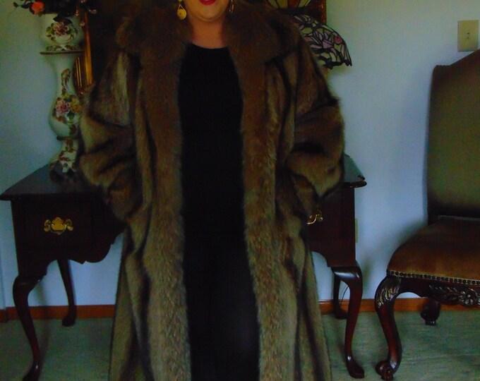 Ladies Coyote Full Length Fur Coat-Mens Full Length Coyote Fur-Full Length Coyote Coat-Large Coyote Fur Coat-Gold Coyote Full Length Coat