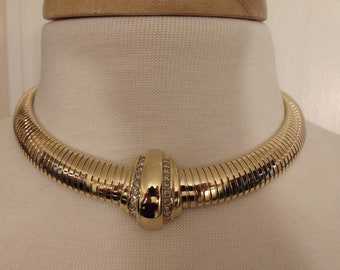 90s Gold Crystal Choker For Travel,Church,Gallery Openings,Business,Operas,Art Shows,Dinners,Zoom Meetings,Holidays,Theater,Concerts,Rodeos