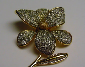 80s Crystal Gold Flower Brooch For Weddings, Dinners, Operas, Luncheons, Dances, Church, Rodeos, Gallery Openings, Theater, Art Shows,Cruise