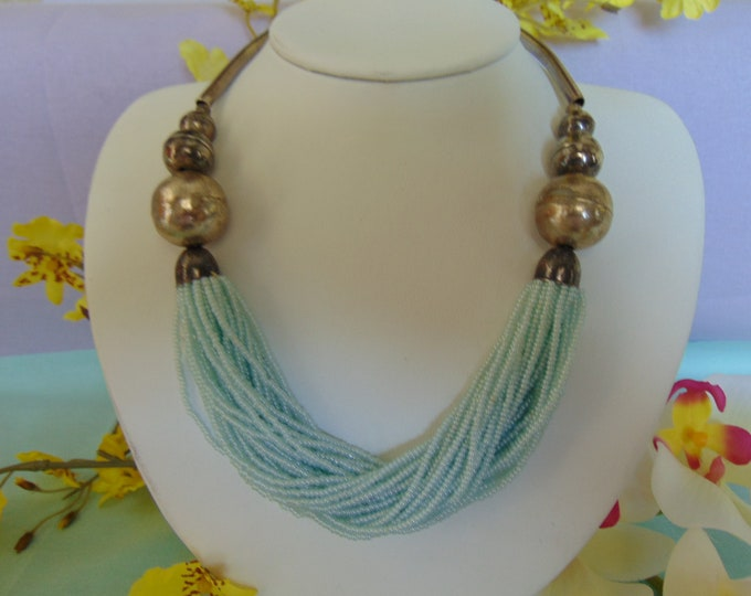 Multi Strand 70s  Faux Pearl Silver Necklace Perfect For Equestrians, Rodeos, Western Wear, Office Casual, Luncheons And More