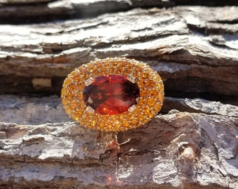 Garnet-Citrine & Diamond Ring For Birthstones-Engagement-Wedding-Cocktail Parties-Operas-Theater-Dinner Dances-Holidays-Cruises-Derbies-Gala