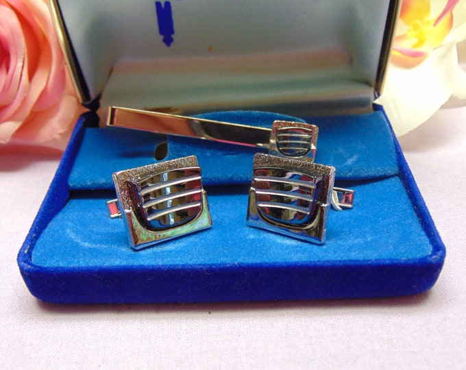Mens Tie And Cuff Link Set- Kasmir Tie Clip And Cuff Links For Business-Weddings-Traveling-Operas-Derbies-Casinos-Chairty Balls-Country Club