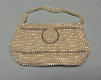 50's Ladies Pearl And Beaded Evening Purse For Kentucky Derby, Easter, Mothers Day, Cruises, Rodeos, Weddings, Mother Of The Brides, Proms