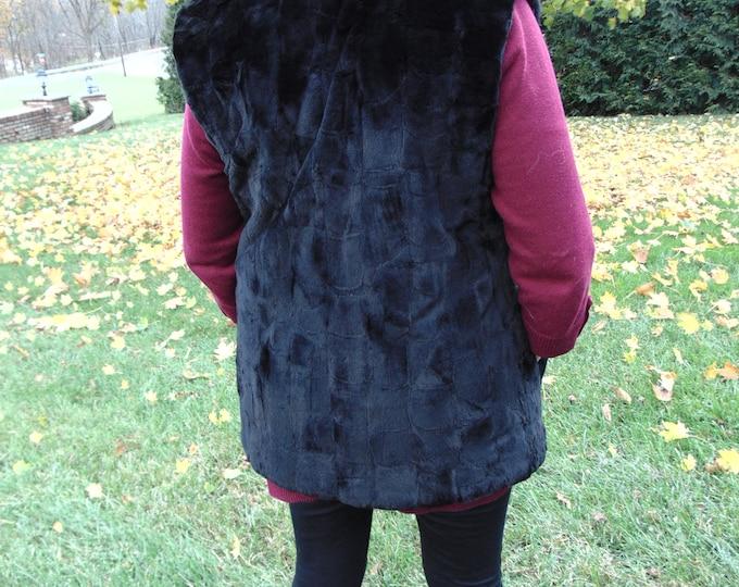 Reversible Black Mink Fur Vest-Ladies Black Mink Vest-Reversible Mink Vest-Mink Vest For Travel,Luncheons,Church,Rodeos,Parties,Zoom Meeting