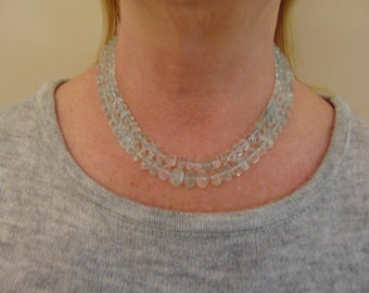 500 Carat Aquamarine Necklace With A Diamond Clasp For Brides, Weddings, Holidays, Birthday Gift, Chairty Ball,  Kentucky Derby, Red Carpets