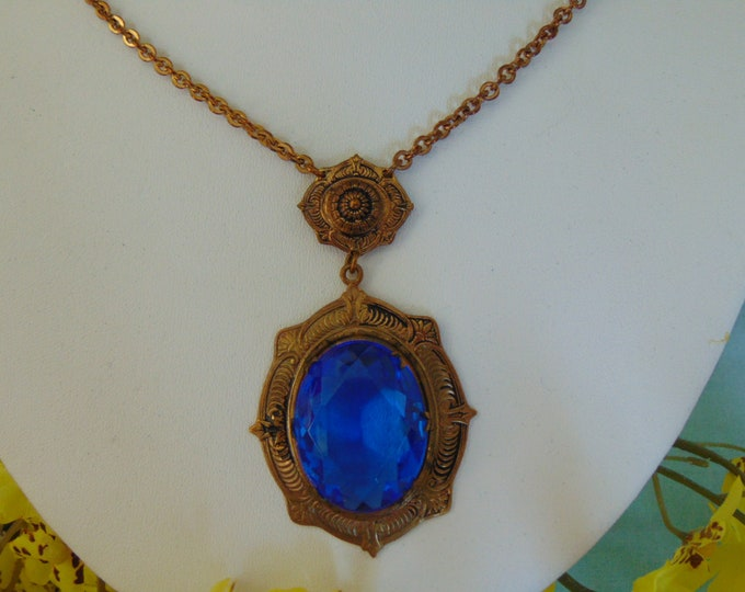 Antique Blue Glass Necklace  Perfect For Kentucky Derby, Weddings, Proms, Graduations, Dinner Dances, Mother Of The Bride