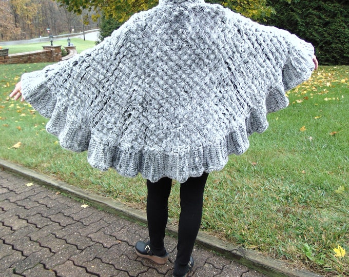 One Size Fits All SnoTop  Knitted Rex Rabbit Poncho-Silver Rabbit Fur Poncho-Gray Rabbit Fur Poncho-Unisex Rabbit Fur Poncho-Fur Ponchos